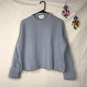 Monki babyblue rib knit long sleeve crop sweater